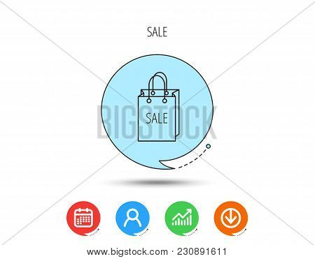 Sale Shopping Bag Icon. Discount Handbag Sign. Calendar, User And Business Chart, Download Arrow Ico