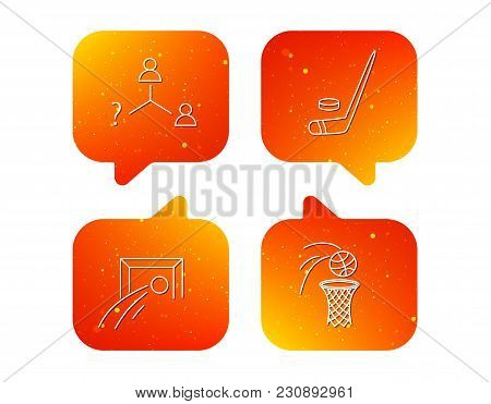 Football, Ice Hockey And Basketball Icons. Vacancy Linear Sign. Orange Speech Bubbles With Icons Set