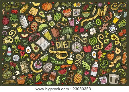 Colorful Vector Hand Drawn Doodles Cartoon Set Of Diet Food Objects And Elements