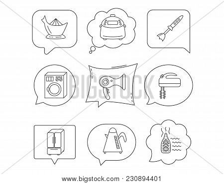 Washing Machine, Teapot And Blender Icons. Refrigerator Fridge, Juicer And Steam Ironing Linear Sign