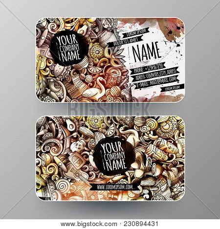 Cartoon Graphics Watercolor Vector Hand Drawn Doodles Latin America Corporate Identity. 2 Id Cards D