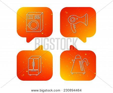 Washing Machine, Teapot And Hair-dryer Icons. American Style Refrigerator Linear Sign. Orange Speech