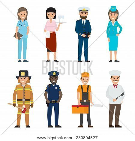 Vector Illustration Of Policeman And Lifesaver, Medical Adviser, Bearded Mariner And Cook With Ladle