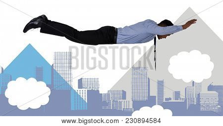 Digital composite of Flying businessman with minimal shapes in city