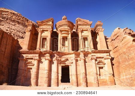 Jordan travel destination - The Monastery, Petra's largest monument, in Jordan.