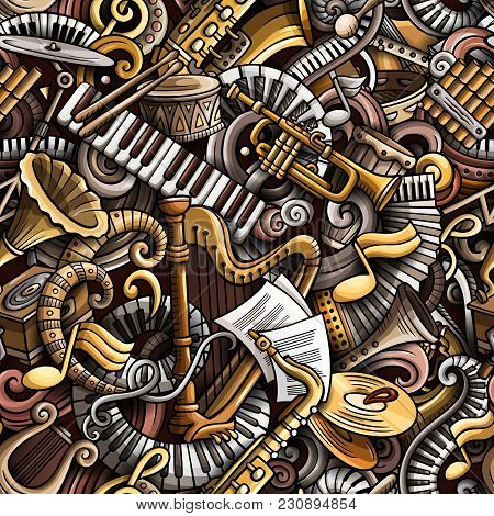 Cartoon Cute Doodles Classical Music Seamless Pattern. Colorful Detailed, With Lots Of Objects Backg