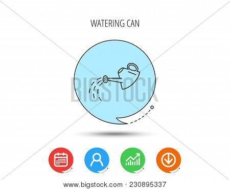 Watering Can Icon. Gardener Equipment Sign Symbol. Calendar, User And Business Chart, Download Arrow