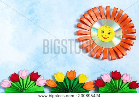 Children's Crafts Made Of Paper And Cd. Sun And Flowers