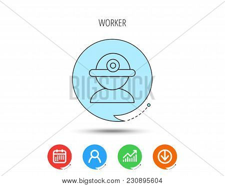 Worker Icon. Engineering Helmet Sign. Calendar, User And Business Chart, Download Arrow Icons. Speec