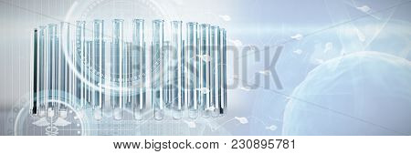 Digital composite image of DNA helix against test tube with chemical solution