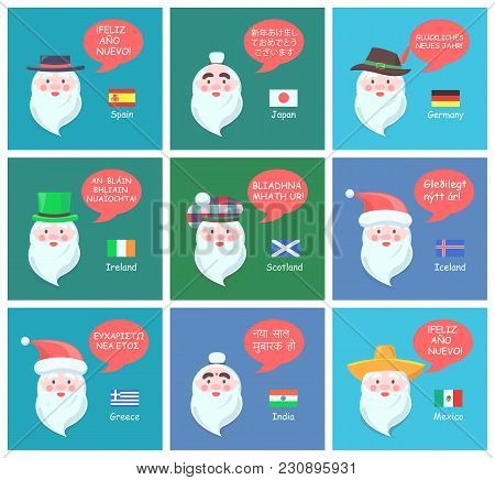 Foreign Santa Clauses In Traditional National Headdresses Wish Happy New Year In Various Languages C