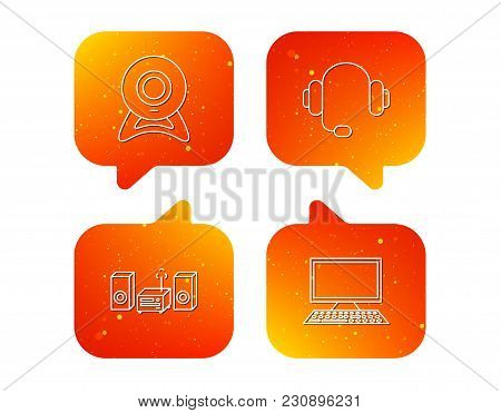 Web Camera, Headphones And Computer Icons. Music Center Linear Sign. Orange Speech Bubbles With Icon