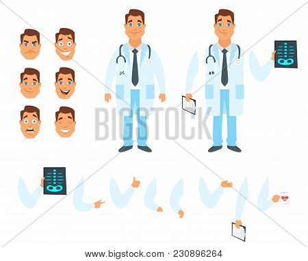 Vector Cartoon Style Man Doctor Character Generator. Different Emotions, Mouth Positions And Hand Ge