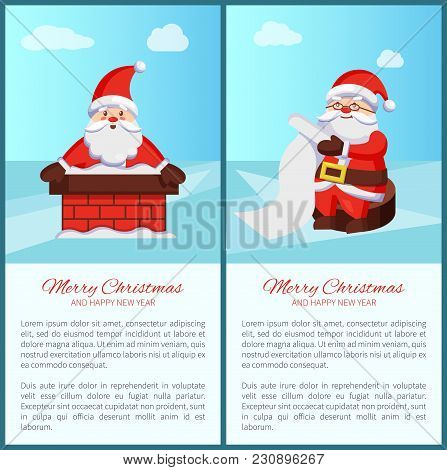 Merry Christmas And Happy New Year Poster With Text, Santa Claus In Chimney, Reading Wish List Vecto