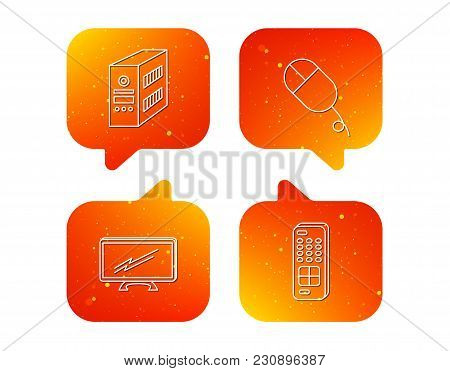 Pc Mouse, Tv Remote And Computer Icons. Widescreen Tv Linear Sign. Orange Speech Bubbles With Icons