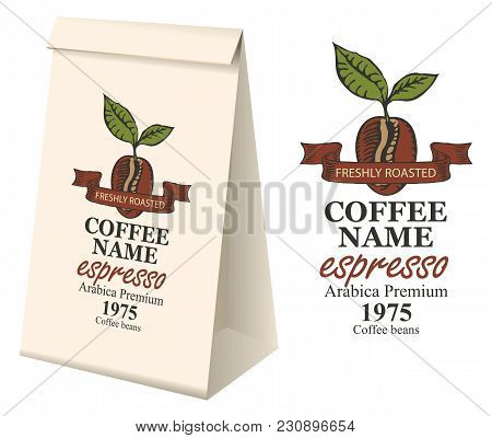 Paper Packaging With Label For Coffee Beans. Vector Label For Coffee With Coffee Bean And Inscriptio