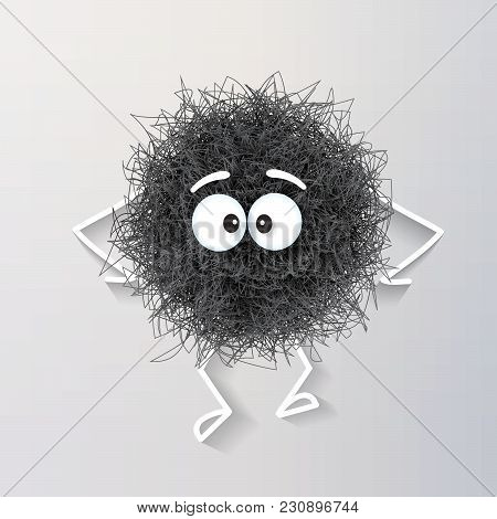Fluffy Cute Black Spherical Creature Sad And Depressed