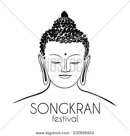 Buddha Head, Hand-drawing Vector, Ohm Signbangkok Thailand Festival Songkran