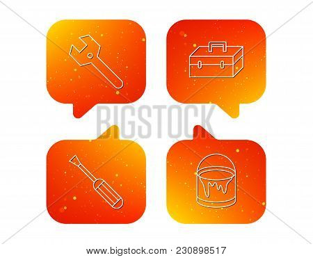 Wrench Key, Screwdriver And Paint Bucket Icons. Toolbox Linear Sign. Orange Speech Bubbles With Icon