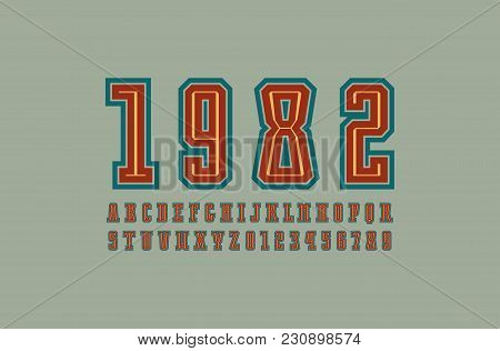 Decorative Slab Serif Font With Contour. Letters And Numbers For Logo And T-shirt Design. Color Prin