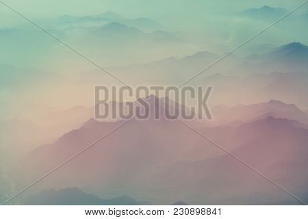 Mountain silhouette in cloudy weather
