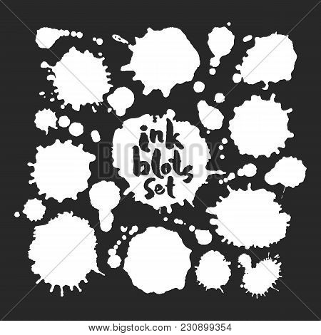 Set Of Various White Blots. Based On A Hand Made Inky Artwork. Black On White Background. Clipping P