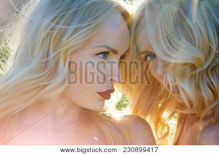 Freedom, Relations And Family Values. Beauty And Fashion, Look. Women With Blonde Hair And Makeup Ou