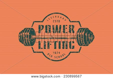 Emblem Of The Powerlifting Club. Graphic Design For T-shirt.  Green Print On Orange  Background