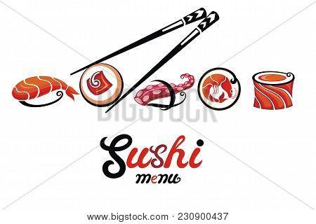 Japanese Food Label For Sushi Menu. Sushi Illustration