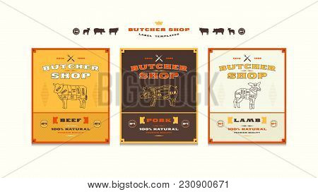 Set Of Templates Label For Butcher Shop. Illustration With Elements In Handmade Graphics. For Packin