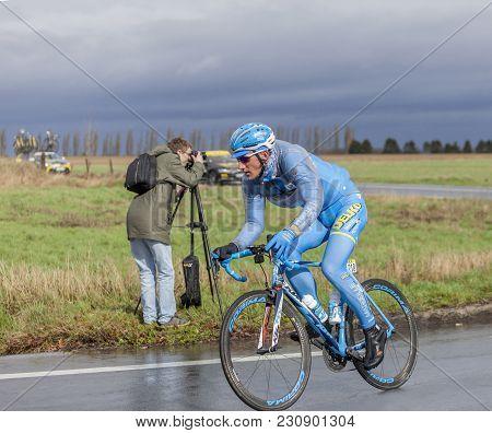 Cernay-la-ville, France - March 5, 2017: The Latvian Cyclist Gatis Smukulis Of Delko-marseille Prove