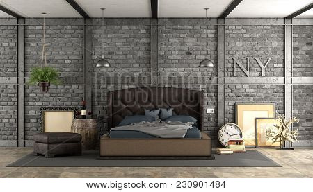 Retro Master Bedroom With Elegant Bed , Vintage Objects And Brick Wall - 3d Rendering