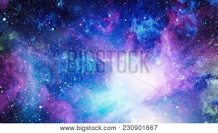 Fiery Explosion In Space. Abstract Illustration Of Universe. The Explosion Supernova. Bright Star Ne