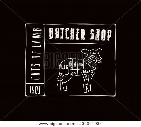 Stock Vector Lamb Cuts Diagram In The Style Of Handmade Graphics. Label Template For Butcher Shop. W