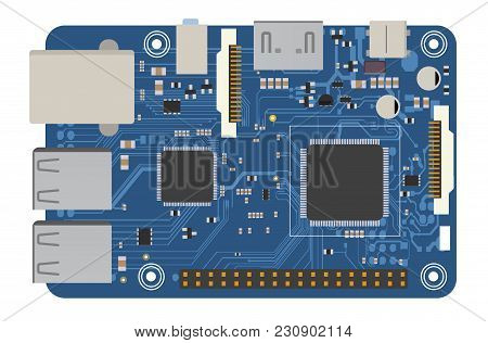 Diy Electronic Board With A Microprocessor, Interfaces, Leds, Connectors, And Other Electronic Compo