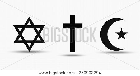 Symbols Of The Three World Religions - Judaism, Christianity And Islam. Isolated On White Background