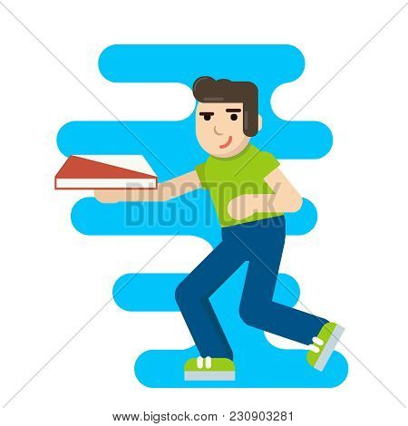 Cute Cartoon Pizza Delivery Boy Running With Cardboard Box With Stylized Pizza Logo. Isolated Vector