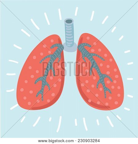 Vector Cartoon Illustration Lungs Icon, Flat Style. Internal Organs Of The Human Design Element, Log