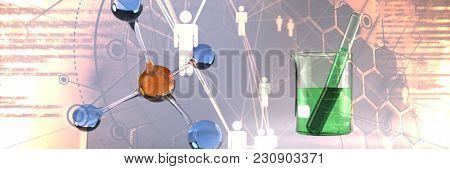 DNA structure against beaker with green chemical solution