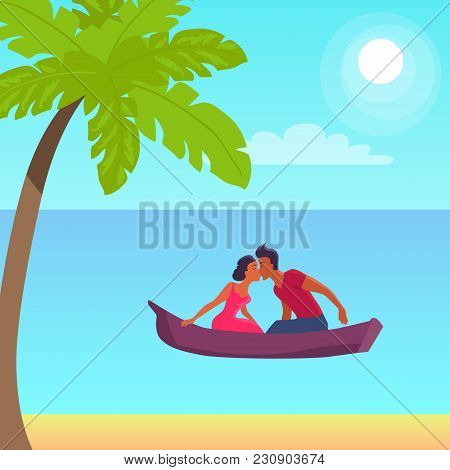 Summer Love Affair Banner With Kissing Couple Sailing Together In One Boat, Relationships Of Strange