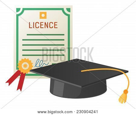 Square Academic Hat With Tassel And Licence With Stamp Vector. Mortarboard Cap And Diploma Symbols O