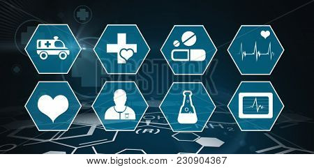 Several icon with sign against digital background with chemical data and emergency sign
