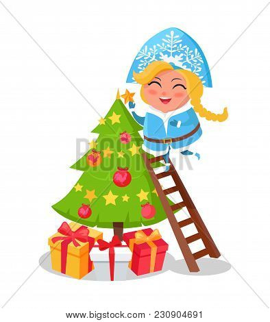 Happy Snow Maiden Decorating Christmas Tree Icon Isolated On White. Vector Illustration With Traditi