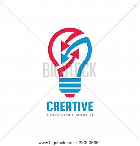 Creative Idea - Vector Logo Template Concept Illustration. Lightbulb And Arrows Icon. Electric Lamp