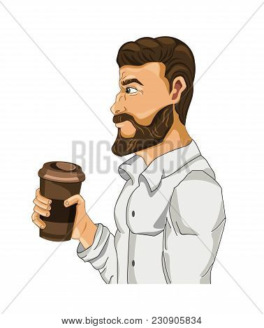 Man Drinking Coffee Vector Cartoon Character Illustration