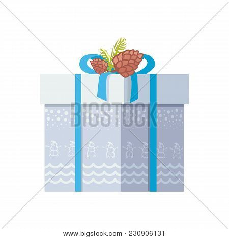 Package Wrapped In Grey Paper With Snowman And Snow, Decorated On Top By Bow And Two Spruce Cones Ve