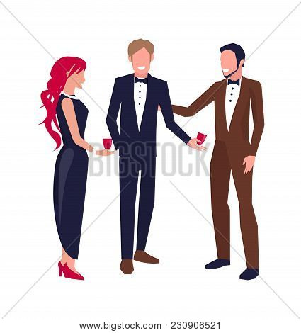 Two Men And Woman In Middle Of Conversation With Glasses Of Wine. Vector Illustration With Communica