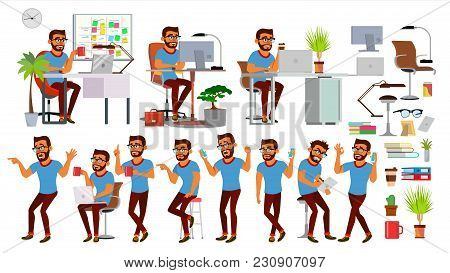 Business Man Character Vector. Working Hindu, Man. Team Room. Brainstorming. Environment Process In
