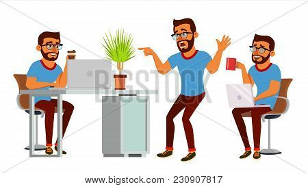 Business Man Character Vector. Working Hindu Male. It Startup Business Company. Environment Process.