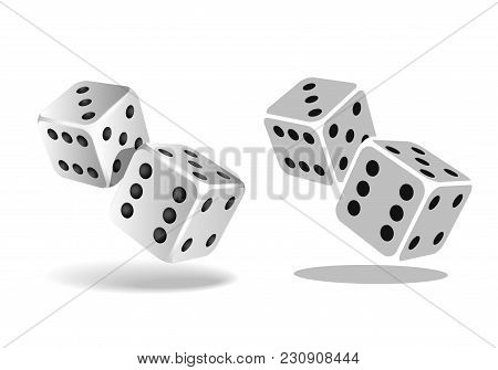 Two White Falling Dice Isolated On White. Casino Gambling Template Concept. Vector Illustration